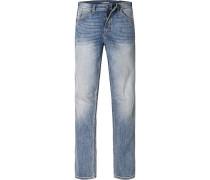 Herren Jeans Slim Fit Baumwoll-Stretch blau
