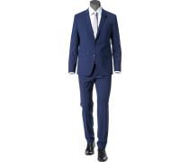 Herren Anzug Extra Slim Fit Schurwoll-Stretch royalblau