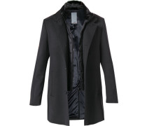 Herren Mantel, Microfaser-Wolle, schwarz