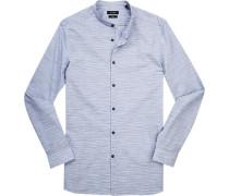 Herren Hemd, Slim Fit, Popeline, blau-braun gestreift
