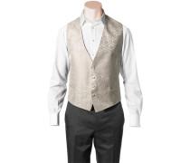 Herren Anzug Weste Slim Fit Microfaser champagner-ecru gemustert weiß
