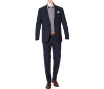 Herren Anzug, Comfort Fit, Schurwolle, navy meliert blau