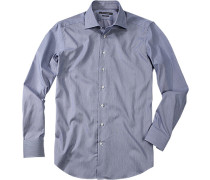 Herren Hemd Shaped Fit marine gestreift blau