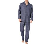 Herren Schlafanzug Pyjama, Baumwolle, navy gemustert blau