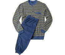 Herren Schlafanzug Pyjama Baumwoll-Frottee gelb-indigo gestreift blau,gelb