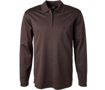 Herren Zip-Shirt, Baumwoll-Piqué, dunkelbraun