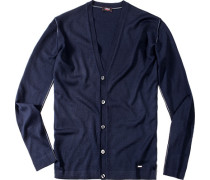 Herren Cardigan Woll-Mix marine blau