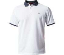 Herren Polo-Shirt Tailored Fit Baumwoll-Piqué weiß