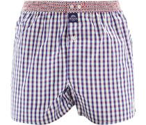 Herren Unterwäsche Boxershorts Baumwolle lila-weiß kariert violett