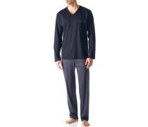 Herren Schlafanzug Pyjama Baumwolle indigo blau