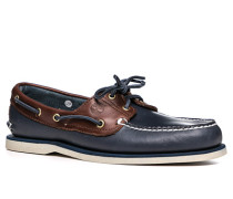 Herren Bootsschuhe, Leder, marineblau-braun