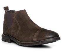 Herren Schuhe Chelsea Boots, Veloursleder, braun
