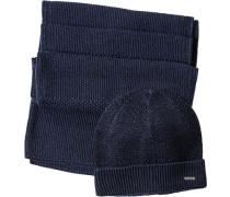 Herren  Mütze+Schal Woll-Mix nachtblau-royal meliert
