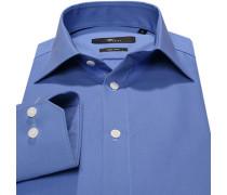 Herren Hemd Slim Fit Popeline blau