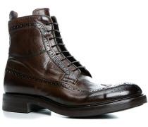 Herren Schuhe Schnürstiefeletten, Kalbleder glatt, testa di moro braun