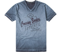 Herren T-Shirt Baumwolle grünblau
