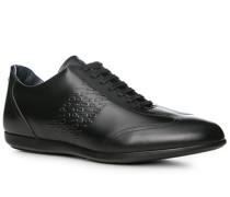 Herren Schuhe Sneaker Leder schwarz blau