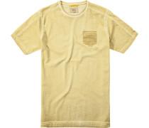 Herren T-Shirt Baumwolle gelb meliert