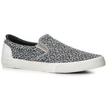 Herren Schuhe Slip Ons, Baumwolle, schwarz-weiß gemustert