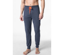 Herren Pyjamahose Baumwoll-Mix jeansblau meliert