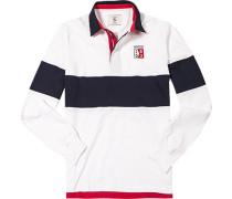 Herren Rugby-Shirt Baumwoll-Jersey off white-navy gestreift