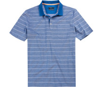 Herren Polo-Shirt Baumwoll-Pique azur gestreift