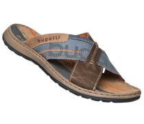 Herren Schuhe Sandalen, Leder-Textil, braun-blau