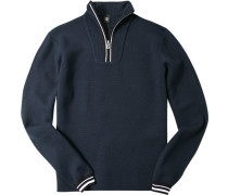 Herren Pullover Zip-Troyer Regular Fit Schurwoll-Mix navy
