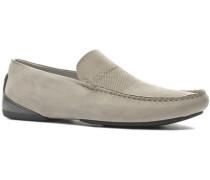 Herren Schuhe Mokassins Kalbnubukleder grau beige