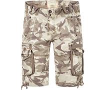 Herren Hose Cargoshorts Regular Fit Baumwolle camouflage braun