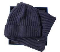 Herren  Mütze+Schal Wolle marine blau