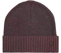 Herren  Mütze Baumwolle chianti-grau meliert rot