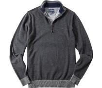 Herren Pullover Troyer Wolle-Baumwoll-Mix anthrazit meliert grau
