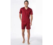 Herren Schlafanzug Pyjama Baumwolle kirschrot
