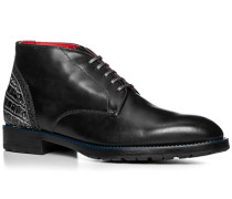 Herren Schuhe Stiefeletten, Leder gebrusht, carbone grau