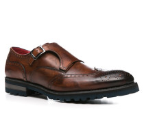 Herren Schuhe Monkstrap Leder testa di moro braun,rot