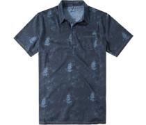 Herren Polo-Shirt Baumwoll-Jersey navy gemustert blau