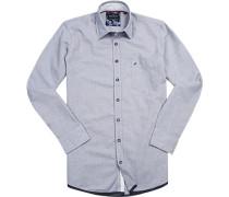 Herren Hemd Modern Fit Baumwolle blau-weiß gemustert