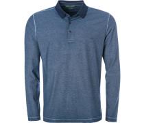 Herren Polo-Shirt, Baumwoll-Jersey, blau meliert