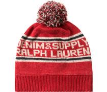 Herren   Mütze Lammwoll-Mix rot