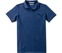 Herren Polo-Shirt Slim Fit Baumwoll-Piqué indigo blau