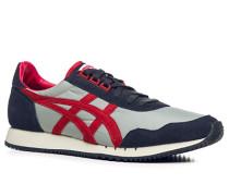 Herren Schuhe Sneakers Veloursleder- und Textil-Mix rot-blau