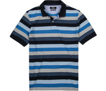 Herren Polo-Shirt, Baumwoll-Pique, blau gestreift