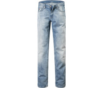 Herren Jeans, Regular Fit, Baumwoll-Stretch, hellblau