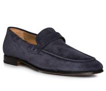 Herren Schuhe Loafer, Veloursleder, marineblau