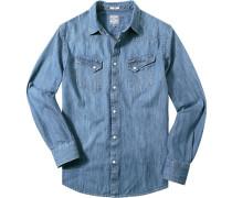 Herren Hemd Regular Fit Baumwolle indigo blau