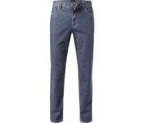 Herren Jeans Kirk, Contemporary Fit, Baumwoll-Stretch, denimblau