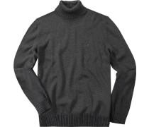 Herren Rollkragen-Pullover Baumwolle anthrazit grau