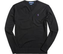 Herren Pullover Slim Fit Woll-Mix schwarz
