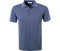Polo-Shirt Baumwoll-Strick indigo